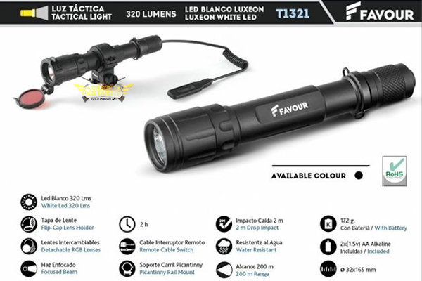 320lm alum led flashlight with push button includes 2 AA