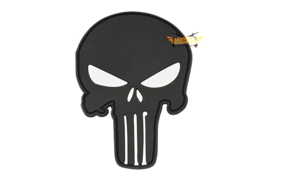 Skull 6.6x9 cm pvc patch with punisher velcro