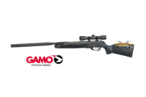 gamo pack wildcat whisper 5.5 igt air rifle, with r4 x32 scope, ipsc rat and winchester knife