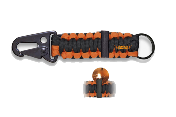 mini carabiner with orange paracord